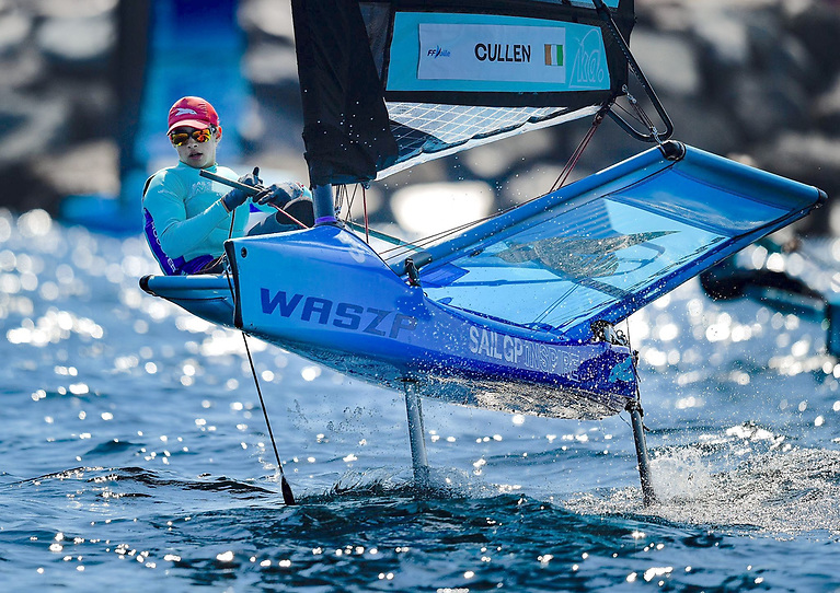 Charlie Cullen of Dun Laoghaire's Royal St. George Yacht Club competing at the Saint Tropez SailGP Waszp event