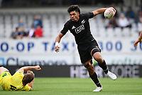 22nd May 2021; Eden Park, Auckland New Zealand; All Blacks Sevens versus Australia, Trans-Tasman Sevens;  Kitiona Vai breaks a tackle and runs in open field