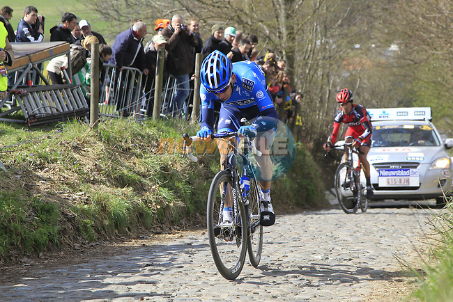 The tail end of the peloton including Michael Morkov (DEN) Saxo Bank climbs Koppenberg during the 96th edition of The Tour of Flanders 2012, running 256.9km from Bruges to Oudenaarde, Belgium. 1st April 2012. <br /> (Photo by Eoin Clarke/NEWSFILE).
