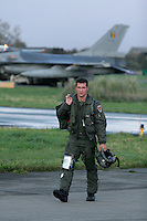 Pilot of Lockheed Martin F-16 Fighting Falcon from Belgian Air Force 349 squadron.  BOLD AVENGER 2007 (BAR 07), a NATO  air exercise at Ørland Main Air Station, Norway. BAR 07 involved air forces from 13 NATO member nations: Belgium, Canada, the Czech Republic, France, Germany, Greece, Norway, Poland, Romania, Spain, Turkey, the United Kingdom and the United States of America. The exercise was designed to provide training for units in tactical air operations, involving over 100 aircraft, including combat, tanker and airborne early warning aircraft and about 1,450 personnel.