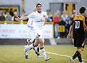 25/08/2009  Copyright  Pic : James Stewart.sct_jspa03_alloa_v_dundee_utd  .ANDIS SHALA CELEBRATE AFTER HE SCORES THE FIRST.James Stewart Photography 19 Carronlea Drive, Falkirk. FK2 8DN      Vat Reg No. 607 6932 25.Telephone      : +44 (0)1324 570291 .Mobile              : +44 (0)7721 416997.E-mail  :  jim@jspa.co.uk.If you require further information then contact Jim Stewart on any of the numbers above.........