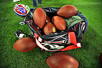 7 December 2008: A bag of NFL footballs lies on the sideline turf during the first regular season NFL game ever played in Canada. The Miami Dolphins defeated the Buffalo Bills 16-3 at the Rogers Centre in Toronto, Ontario. ..Mandatory Photo Credit: Ed Wolfstein Photo