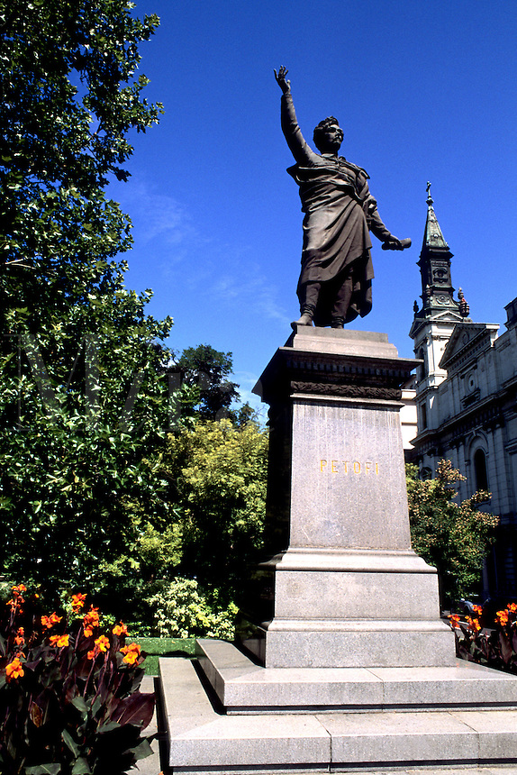 Statue of Petofi with flowers in Budapest Hungary