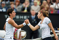 21-06-13, Netherlands, Rosmalen,  Autotron, Tennis, Topshelf Open 2013, , Simona Halep (R) receives congratulations  after she defeated Suarez Navarro for a place in the final<br /> <br /> Photo: Henk Koster