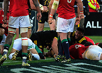 Referee Romain Poite gets down to check Callum Gibbins' try during the 2017 DHL Lions Series rugby match between the Hurricanes and British & Irish Lions at Westpac Stadium in Wellington, New Zealand on Tuesday, 27 June 2017. Photo: Dave Lintott / lintottphoto.co.nz