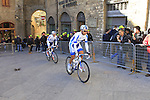 Team Novo Nordisk riders make their way to sign on before the start of the 2015 Strade Bianche Eroica Pro cycle race 200km over the white gravel roads from San Gimignano to Siena, Tuscany, Italy. 7th March 2015<br /> Photo: Eoin Clarke www.newsfile.ie