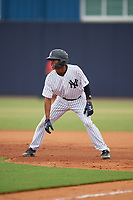 GCL Yankees East Miguel Marte (1) leads off during a Gulf Coast League game against the GCL Phillies East on July 31, 2019 at Yankees Minor League Complex in Tampa, Florida.  GCL Phillies East defeated the GCL Yankees East 4-3 in the second game of a doubleheader.  (Mike Janes/Four Seam Images)