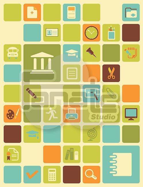 Illustration of educational icons over colored background
