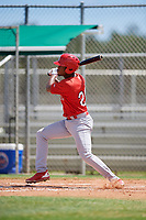 GCL Cardinals third baseman Raffy Ozuna (27) follows through on a swing during a game against the GCL Mets on August 6, 2018 at Roger Dean Chevrolet Stadium in Jupiter, Florida.  GCL Cardinals defeated GCL Mets 6-3.  (Mike Janes/Four Seam Images)