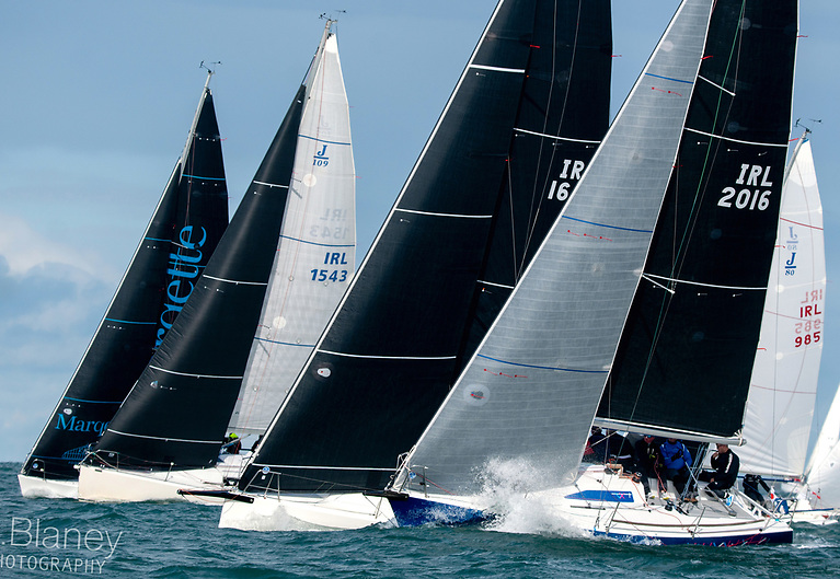 Summer runs into October – IRC 1 getting down to work at Howth on Saturday with (left to right) Half Tonner Mata (Wright/deNeve), J/109 Indian (Simon Knowles), J/99 Snapshot (Mike & Richie Evans), Half Tonner Checkmate XV (Dave Cullen) and J/80 Red Cloud (Nobby Reilly)