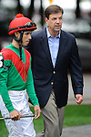 Eddie Castro Winner of the Ballston Spa Stakes (Grade III) discusses pre race strategy with trainer Graham Motion at  Saratoga Race Course in Saratoga Springs, NY  on 8/27/11. Trained by Graham Motion (Ryan Lasek / Eclipse Sportwire)
