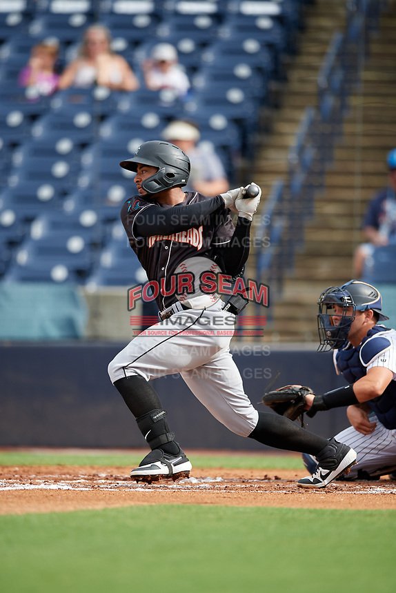 Jupiter Hammerheads James Nelson (20) bats during a Florida State League game against the Tampa Tarpons on July 26, 2019 at George M. Steinbrenner Field in Tampa, Florida.  Tampa defeated Jupiter 2-0 in the first game of a doubleheader.  (Mike Janes/Four Seam Images)