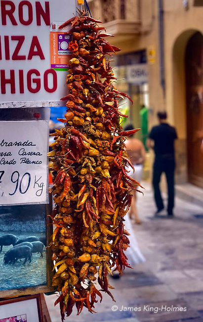 Chilli peppers on sale outside a fruit and vegetable shop in central Palma, Mallorca.