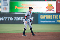 AZL Indians 2 shortstop Raynel Delgado (32) during an Arizona League game against the AZL Angels at Tempe Diablo Stadium on June 30, 2018 in Tempe, Arizona. The AZL Indians 2 defeated the AZL Angels by a score of 13-8. (Zachary Lucy/Four Seam Images)