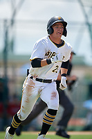 GCL Pirates Jase Bowen (26) runs to first base during a Gulf Coast League game against the GCL Twins on August 6, 2019 at Pirate City in Bradenton, Florida.  GCL Twins defeated the GCL Pirates 4-2 in the first game of a doubleheader.  (Mike Janes/Four Seam Images)