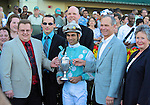 11 February 05: Giant Oak (no. 4), ridden by Shaun Bridgmohan and trained by Chris Block, wins the 53rd running of the grade 1 Donn Handicap for four year olds and upward at Gulfstream Park in Hallandale Beach, Florida.  (Bob Mayberger/Eclipse Sportswire)