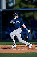 AZL Brewers Blue Anderson Melendez (5) hits a sacrifice fly during an Arizona League game against the AZL Royals at Surprise Stadium on June 18, 2019 in Surprise, Arizona. AZL Royals defeated AZL Brewers Blue 12-7. (Zachary Lucy/Four Seam Images)