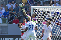 Carson, CA - Sunday, February 8, 2015: Goalkeeper Nick Rimando (1) of the USMNT punches the ball clear. The USMNT defeated Panama 2-0 during an international friendly at the StubHub Center