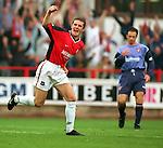 Barry Ferguson celebrates scoring for Rangers as brother Derek Ferguson hands his head at East Ens Park, season 1998-99