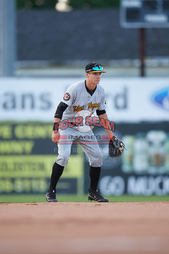 West Virginia Black Bears shortstop Andrew Walker (13) during a game against the Batavia Muckdogs on June 24, 2017 at Dwyer Stadium in Batavia, New York.  The game was suspended in the bottom of the third inning and completed on June 25th with West Virginia defeating Batavia 6-4.  (Mike Janes/Four Seam Images)