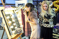 03/11/'10***NO REPRODUCTION FEE PICTURES*** Models, Amber Rowan (blonde Hair) and Hannah May pictured wearing party dresses from AWear's new Christmas Collection this morning. The Irish brand celebrates 25 years in business this year, and will be hosting a massive birthday party next Wednesday 10th November where Irish MTV presenter Laura Whitmore will be playing her first Irish DJ gig. Details on how to get tickets are on www.awear.com. Hannah wears a pink disc dress at EUR60 and faux fur shrug at EUR45 and Amber wears a Leopard print jacket at EUR70 and black chiffon dress at EUR45 . ....Picture Colin Keegan, Collins, Dublin.