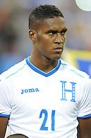 Washington, D.C.- May 29, 2014. Honduras defender Brayan Beckeles.  Turkey defeated Honduras 2-0 during an international friendly game at RFK Stadium.