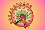 Illustrative image of peacock with oil laps representing Diwali festival