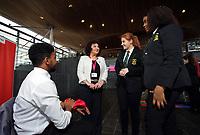 L-R Rafael Fernandez from the Cardiff Youth Council, Caroline Jones AM, Lauren Thomas and Sherry Gakumga both from the Cardiff Youth Council