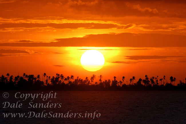 Sunset over an offshore island from Wakatobi Dive Resort, Southeast Sulawesi, Indonesia.