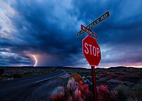 Lightning, storm, storm chasing, storm chaser, Arizona, weather, clouds, desert, mountains, rain, monsoon, stop sign, street sign
