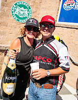 Jul 28, 2019; Sonoma, CA, USA; NHRA top fuel driver Steve Torrence(right) with mother Kay Torrence during the Sonoma Nationals at Sonoma Raceway. Mandatory Credit: Mark J. Rebilas-USA TODAY Sports