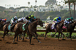 """DEL MAR, CA  JULY 28:  #5 Ransom the Moon, ridden by Flavien Prat, goes seven wide to win the  Bing Crosby Stakes (Grade l) Breeders' Cup """"Win and You're In Sprint Division"""" on July 27, 2018 at  Del Mar Thoroughbred Club in Del Mar, CA. (Photo by Casey Phillips/Eclipse Sportswire/Getty Images)"""