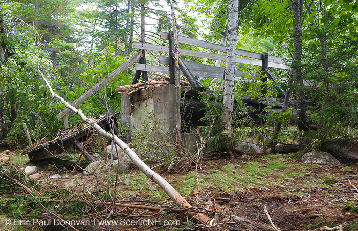 In 2011, high waters from Tropical Storm Irene damaged the Thoreau Falls Trail bridge in the Pemigewasset Wilderness of New Hampshire. This is how the ramp to the bridge looked just days after Tropical Storm Irene.
