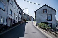 Empty road up the iconic Côte de Saint-Roche in Houffalize on the 2020 (cancelled) race day of Liège-Bastogne-Liège <br /> <br /> Due to the international pandemic caused by the coronavirus COVID-19, the 106th Liège-Bastogne-Liège, like all other Spring Classics in 2020, was cancelled which left the race roads (as the rest of the country in lockdown) eerily empty on (what was the original) race day…<br /> <br /> (was supposed to be a) 1 day race from Liège to Liège (256km)<br /> <br /> ©kramon