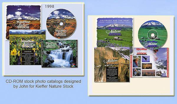 John began working in Photoshop and digital photography in 1998 and soon released these two stock photo catalogs, many followed. Entirely designed by John and his wife.