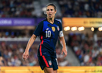 ORLANDO, FL - MARCH 05: Carli Lloyd #10 of the United States looks to the ball during a game between England and USWNT at Exploria Stadium on March 05, 2020 in Orlando, Florida.