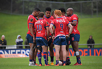 The Tasman backs huddle during the Mitre 10 Cup rugby match between Wellington Lions and Tasman Makos at Jerry Collins Stadium in Wellington, New Zealand on Saturday, 31 October 2020. Photo: Dave Lintott / lintottphoto.co.nz