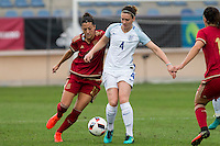 Spain's Jennifer Hermoso and England's Jade Moore during the frendly match between woman teams of  Spain and England at Fernando Escartin Stadium in Guadalajara, Spain. October 25, 2016. (ALTERPHOTOS/Rodrigo Jimenez) /NORTEPHOTO.COM