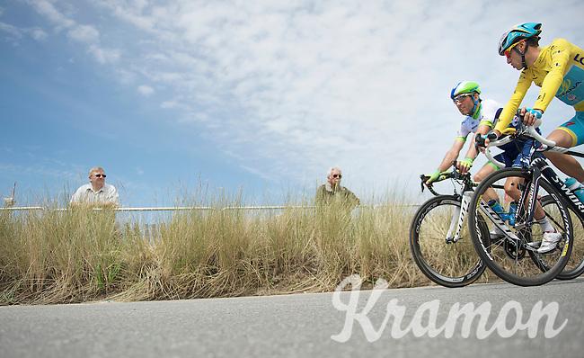 Michael Albasini (SUI/Orica-GreenEDGE) & Vincenzo Nibali (ITA/Astana) to the start<br /> <br /> 2014 Tour de France<br /> stage 4: Le Touquet-Paris-Plage/Lille Métropole (163km)