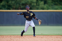 Pittsburgh Pirates Norkis Marcos (72) throws to first base during a Florida Instructional League game against the New York Yankees on September 25, 2018 at Yankee Complex in Tampa, Florida.  (Mike Janes/Four Seam Images)