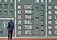 """10 June 2012: Washington Nationals Managing Principal Owner Theodore N. Lerner stands in front of the """"Green Monster"""" prior to a game against the Boston Red Sox at Fenway Park in Boston, MA. The Nationals defeated the Red Sox 4-3 to sweep their 3-game interleague series. Mandatory Credit: Ed Wolfstein Photo"""