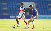 Bolton Wanderers' Brandon Comley and Colchester United's Noah Chilvers<br /> <br /> Photographer Rob Newell/CameraSport<br /> <br /> The EFL Sky Bet League Two - Colchester United v Bolton Wanderers - Saturday 19th September 2020 - Colchester Community Stadium - Colchester<br /> <br /> World Copyright © 2020 CameraSport. All rights reserved. 43 Linden Ave. Countesthorpe. Leicester. England. LE8 5PG - Tel: +44 (0) 116 277 4147 - admin@camerasport.com - www.camerasport.com