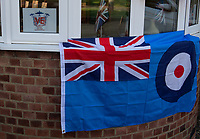 Welling and Sidcup, Kent, England.  Banners and preparations to commemorate the 75th Anniversary of Victory in Europe (VE) Day during lockdown due to the Coronavirus sweeping the country. Photo by Alan Stanford / PRiME Media Images