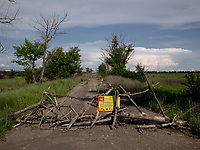 A road block at the frontline between Ukrainian government forces and the positions of Russian-backed separatists.