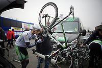 Irish National Champion Ryan Mullen (IRE/AnPost-ChainReaction) tinkering on his bike himself before the start<br /> <br /> Handzame Classic 2015