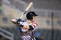 Grant Massey (28) of the Kannapolis Intimidators at bat against the Asheville Tourists at Kannapolis Intimidators Stadium on May 5, 2017 in Kannapolis, North Carolina.  The Tourists defeated the Intimidators 5-1.  (Brian Westerholt/Four Seam Images)