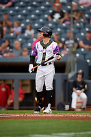 """Akron RubberDucks Mitch Longo (30) at bat during an Eastern League game against the Erie SeaWolves on August 30, 2019 at Canal Park in Akron, Ohio.  Akron wore special jerseys with the slogan """"Fight Like a Kid"""" during the game for Akron Children's Hospital Home Run for Life event, the design was created by 11 year old Macy Carmichael.  Erie defeated Akron 3-2.  (Mike Janes/Four Seam Images)"""