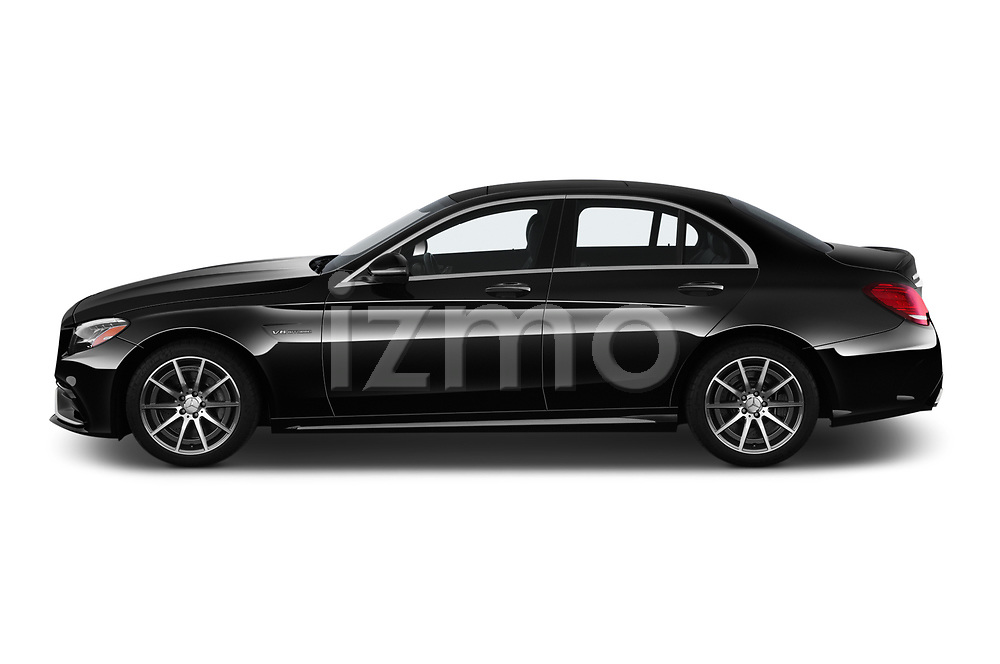 Car Driver side profile view of a 2019 Mercedes Benz C-CLass 63-AMG 4 Door Sedan Side View