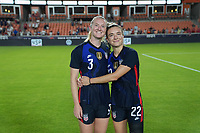 HOUSTON, TX - JUNE 13: Sisters Samantha Mewis #3 and Kristie Mewis #22 of the United States after a game between Jamaica and USWNT at BBVA Stadium on June 13, 2021 in Houston, Texas.