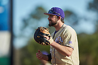 Western Carolina Catamounts first baseman Luke Robinson (38) on defense against the Saint Joseph's Hawks at TicketReturn.com Field at Pelicans Ballpark on February 23, 2020 in Myrtle Beach, South Carolina. The Hawks defeated the Catamounts 9-2. (Brian Westerholt/Four Seam Images)